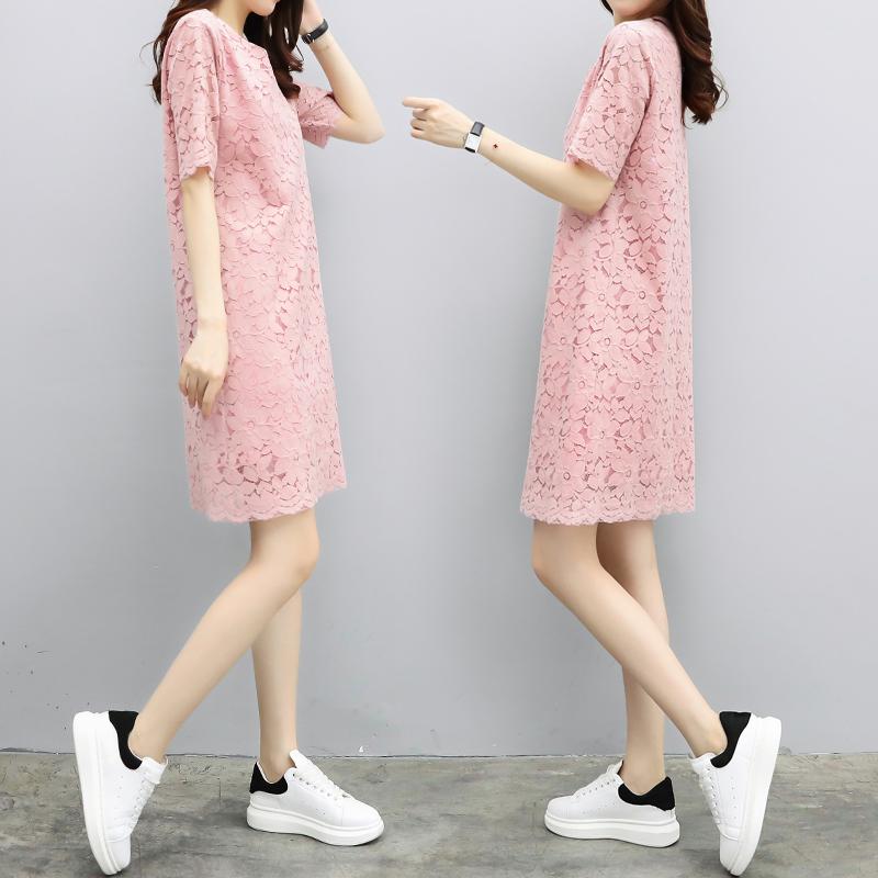 裙子女装夏季2021新款气质韩版宽松圆领显瘦短袖蕾丝直筒连衣裙女