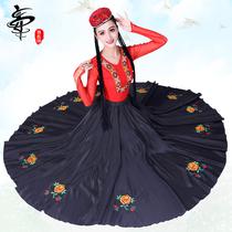 新款新疆舞蹈演出服装女练习裙少数民族维吾尔族练功服大摆裙套装