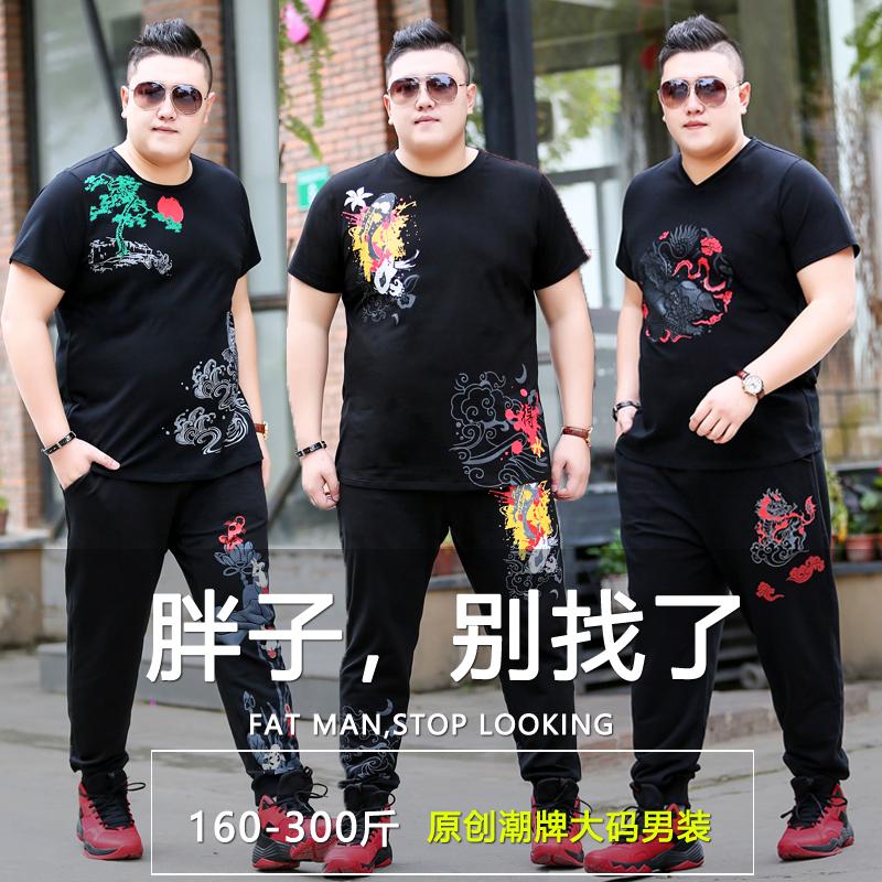 潮胖子加肥加大码男装短袖t恤长裤大号肥佬胖人运动休闲套装两件