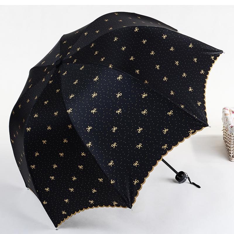 太阳伞三折雨伞黑胶防晒防紫外线遮阳伞韩国女拱形公主晴雨折叠伞