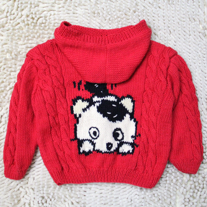 Orphan foreign trade hooded cartoon red 2 male and female baby coat 3-year-old coat sweater spring and autumn kitten sweater