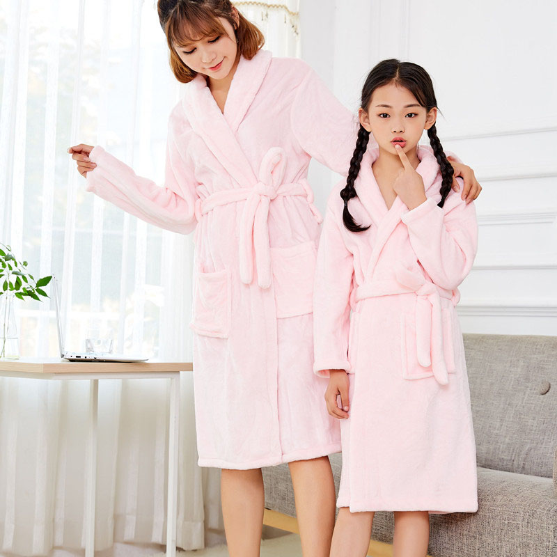 Flannel Nightgown mens thickened pajamas womens bathrobe spring and autumn winter long parent-child coral velvet home clothes lovers