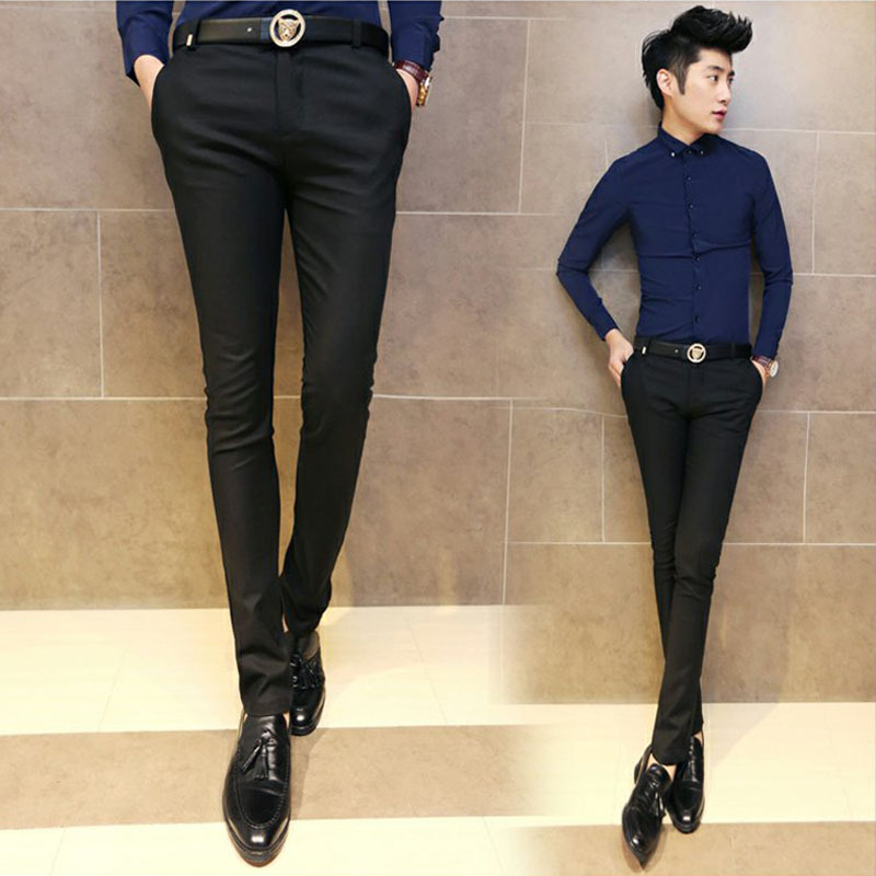 Mens trousers 2021 spring Slim small foot business casual pants tight youth professional black elastic Formal Pants