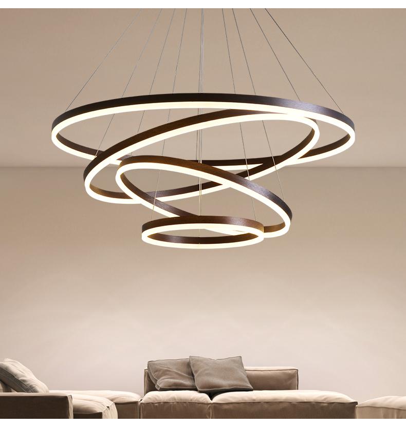 圆形圈吊灯多层环形圈后现代办公室工装简约黑色LED客厅餐厅灯饰