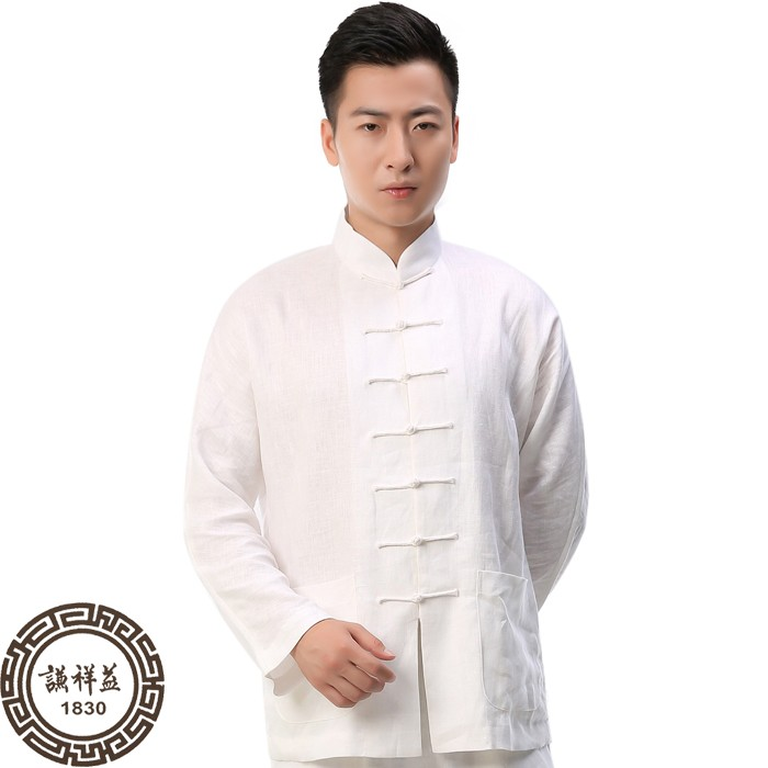 Tang Mens Linen long sleeve bottomed shirt Chinese stand collar casual top ethnic style coil button retro spring and summer shirt