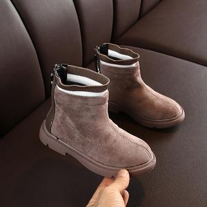 女童靴子短靴公主鞋2918秋冬新款加绒针织鞋口儿童雪地靴宝宝鞋潮