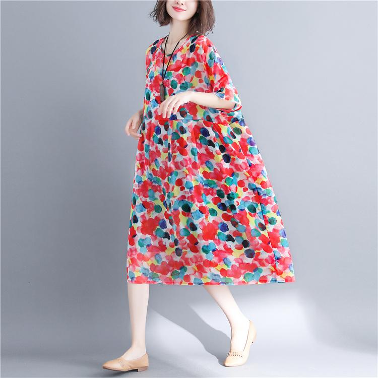 肥胖女装夏装200斤特大码遮肚子A字裙加肥加大胖mm宽松碎花连衣裙