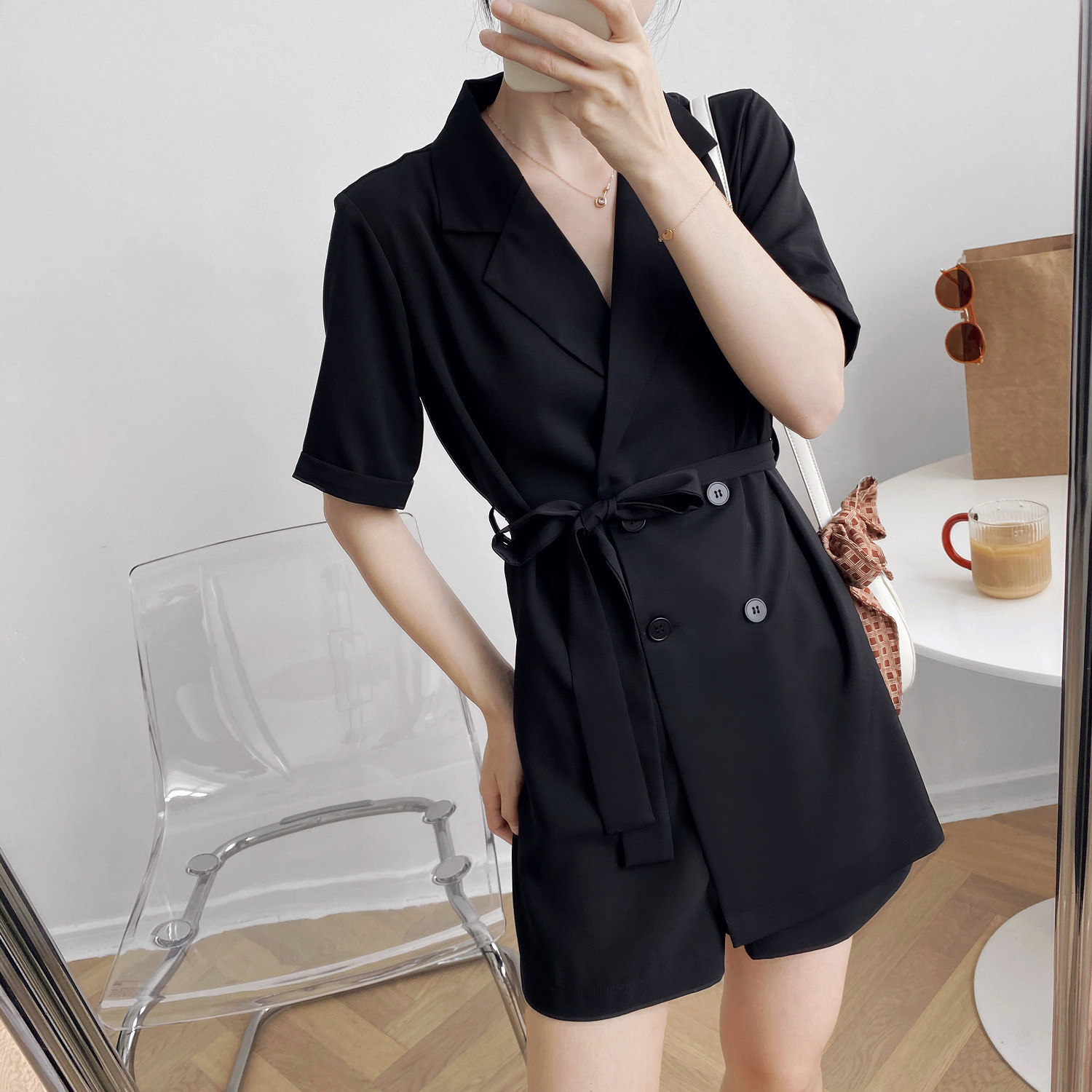 Summer 2020 waist Lapel Blazer one piece short pants with waistband lace up solid color dress pants female black green