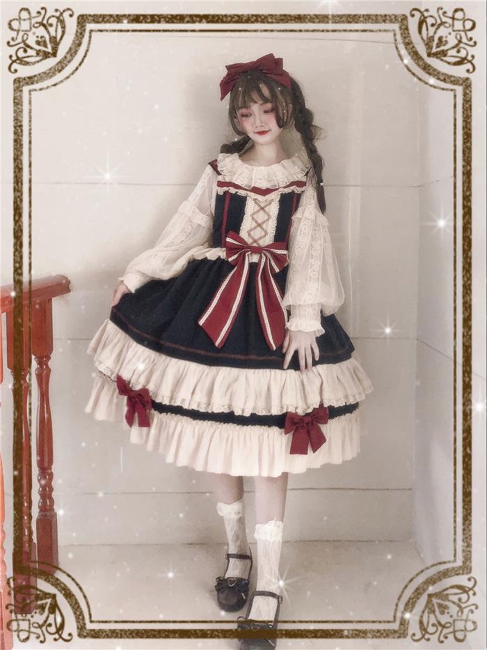 原创正版中华风白雪姬洛丽塔Lolita洋装现货日常全套jsk少女白菜(非品牌)
