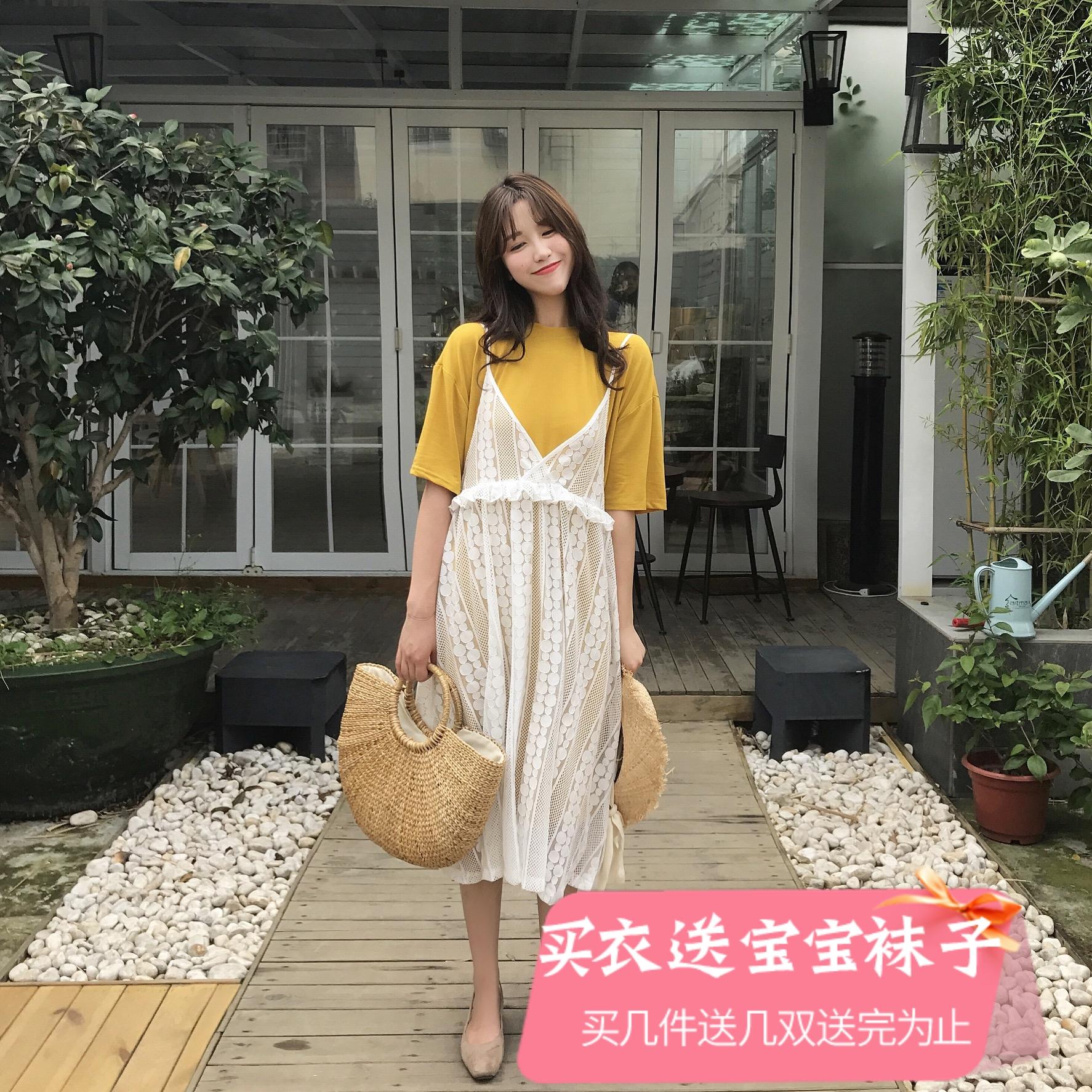 Беременная женщина наряд 17 корея лето кружево установите платье футболки рукав глава T футболки платье темперамент кружево юбка
