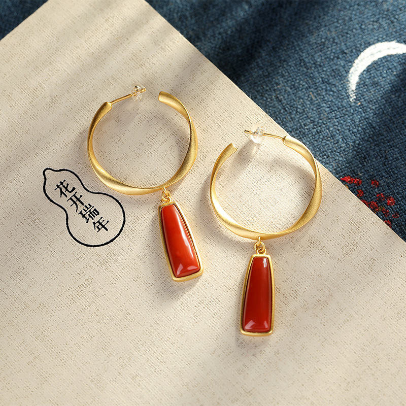 Su Shi S925 pure silver inlaid with natural South Red Agate baroque style geometric shape personalized female Earrings