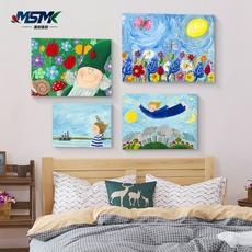 幼儿园儿童房装饰画无框画北欧小清新油画挂画卧室壁画卡通墙画