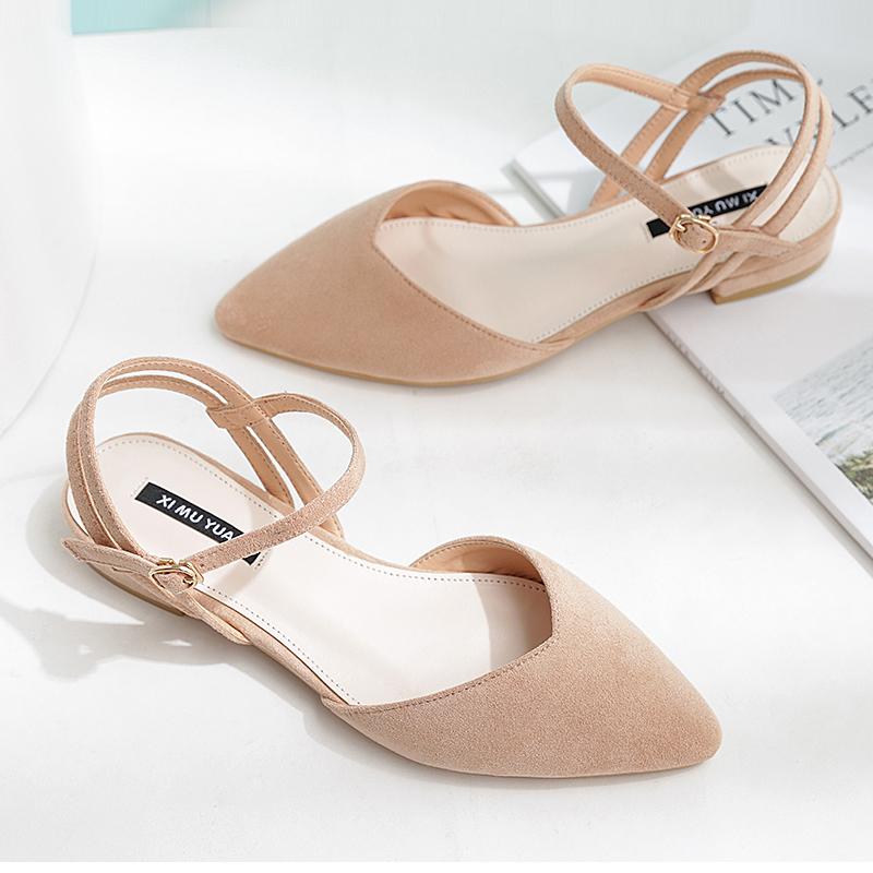 2019夏季包头鞋新款平底凉鞋女绑带甜美尖头一字带低跟女鞋大码