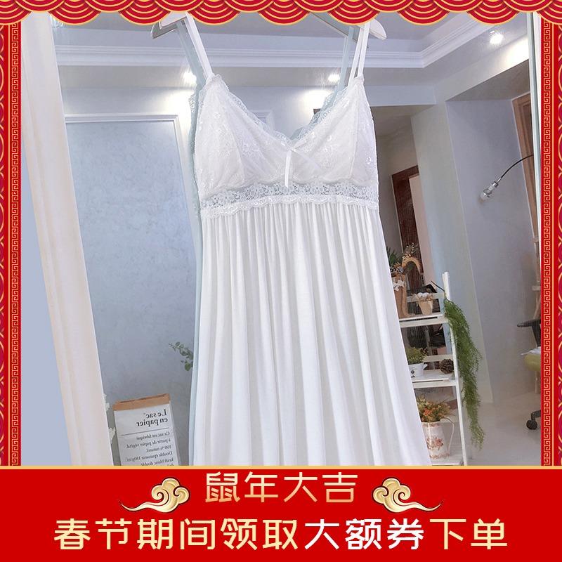 白色带胸垫吊带睡裙女薄款夏季可爱蕾丝公主莫代尔纯棉性感睡衣女