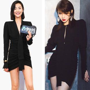 2020春裝新款戚薇同款黑色立領長飄帶顯瘦顯高氣質長袖連衣裙短裙