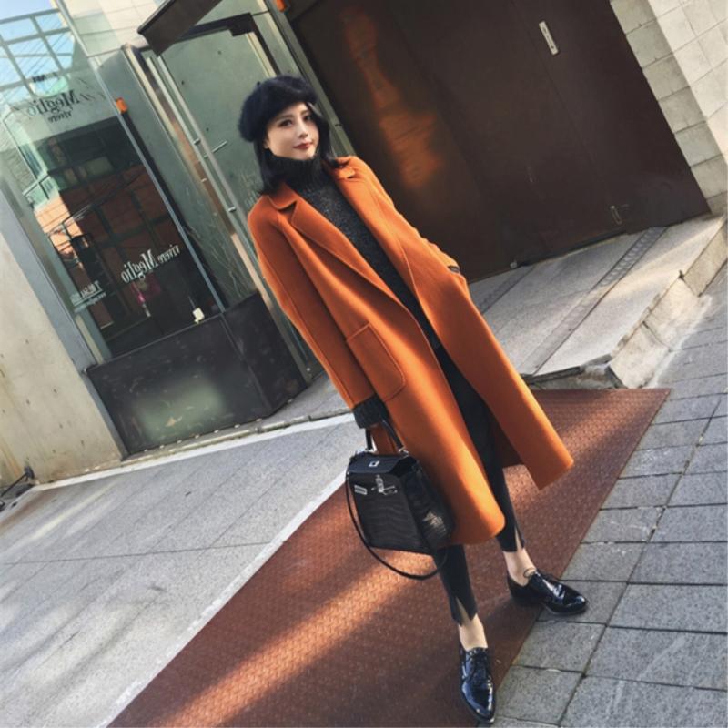 手工双面呢羊绒羊毛大衣女2018秋冬新款高档中长款小个子毛呢外套