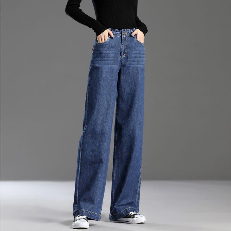 Autumn 2019 high waist straight tube autumn winter loose retro drape feeling thin and long Korean large foot wide leg jeans women