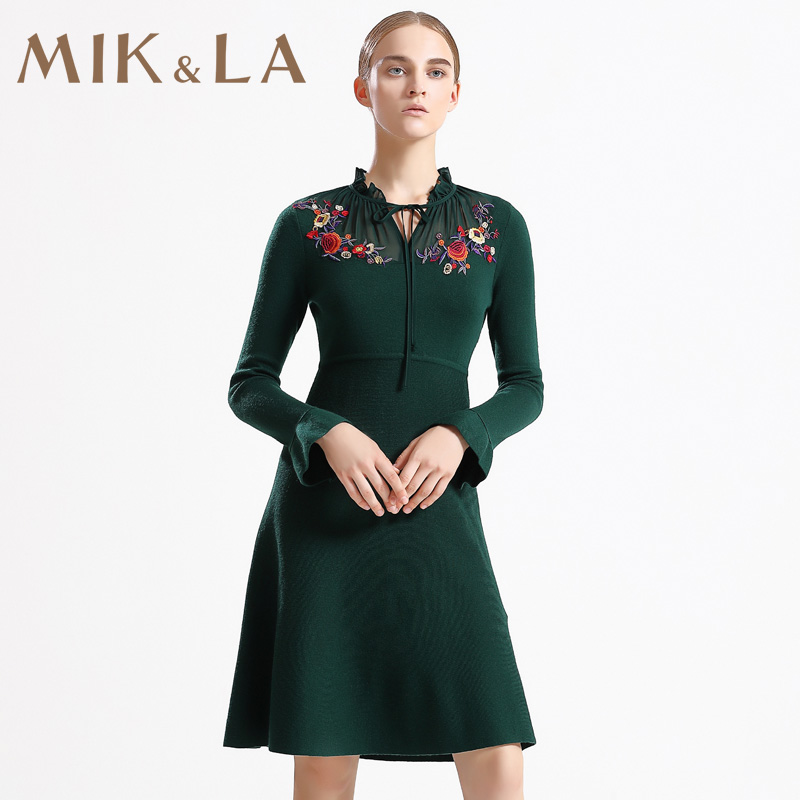 Mik & LA Mikolas new cut waist Ruffle sleeve neckline embroidered jet green knitted dress