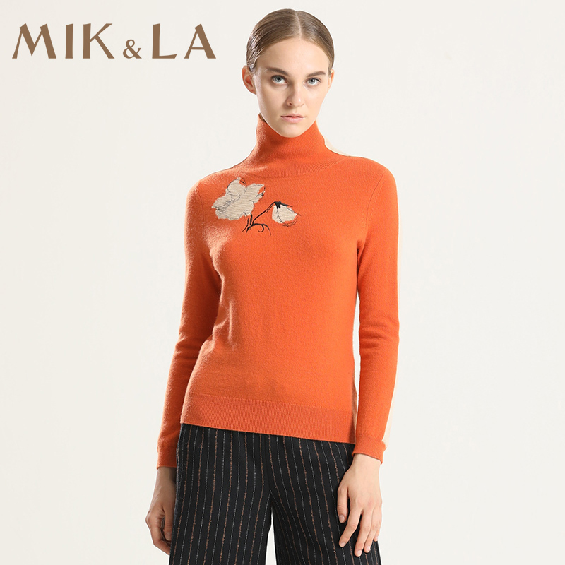 Mik & LA womens autumn and winter new high neck slim fitting Flower Embroidered orange contrast stripe wool sweater