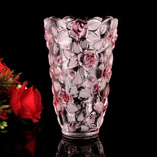 弗莱文茨水晶玻璃玫瑰花瓶 欧式水培植物富贵竹花器 台面茶几花瓶