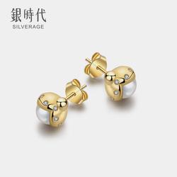 银时代萤火瓢虫925纯银耳钉女韩国个性气质简约镀14K人工珍珠耳饰