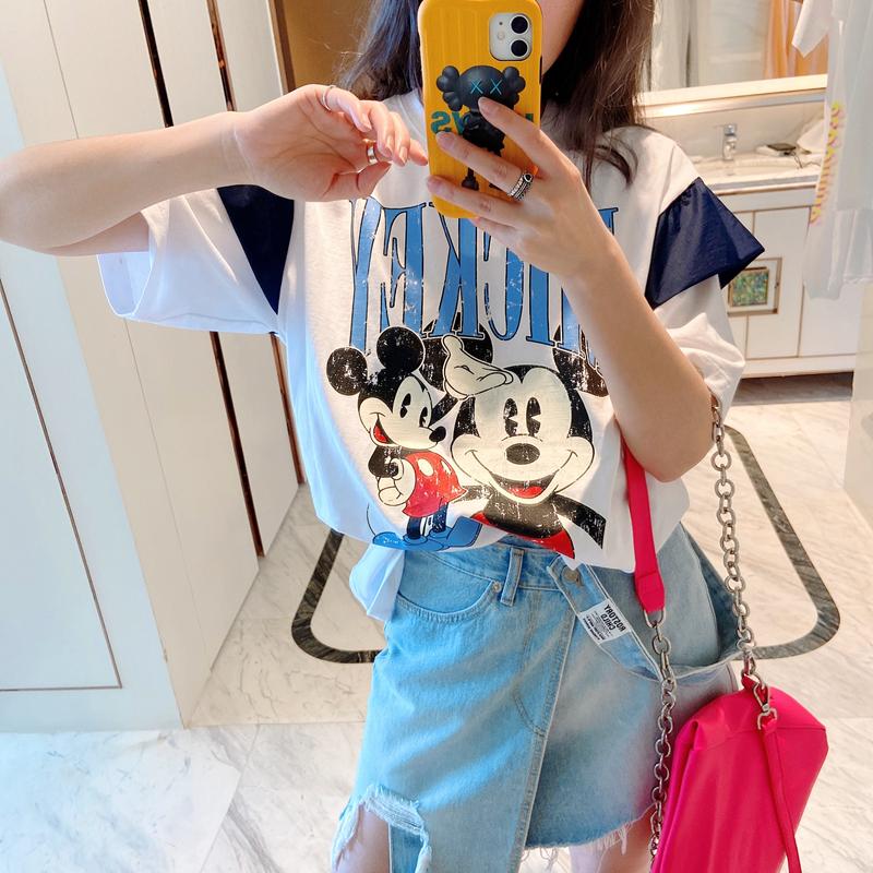 智研 推荐韩国2020夏季新款东大门时髦减龄卡通米奇白色短袖T恤