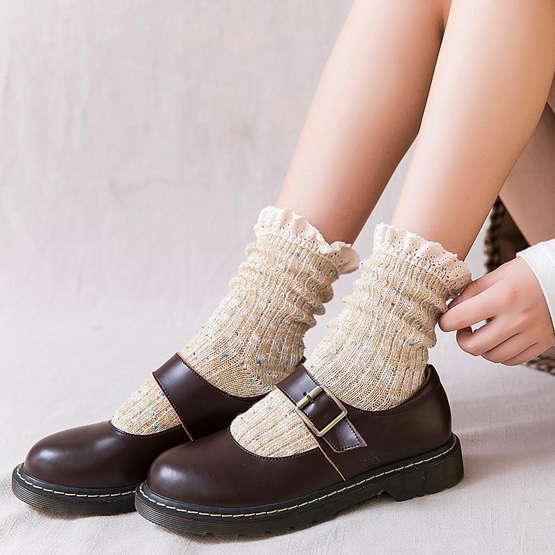 韩国秋冬新款粗线学院风中筒堆堆袜热销34件不包邮