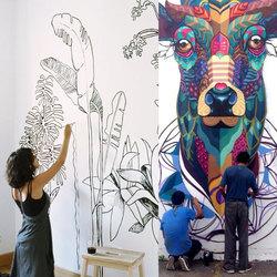 深圳墙绘公司室内外墙体风景画手绘壁画古建筑图案彩绘墙画上门