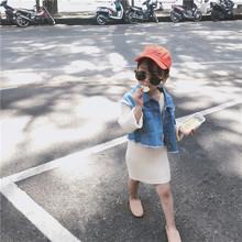 127 两件套套装 19春秋韩国童装 女童针织拼接牛仔外套+针织吊带裙