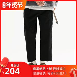 TBALLER 2020新款纯棉九分裤男宽松直筒潮流百搭日系斜纹休闲裤子