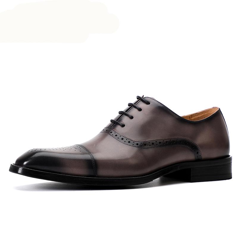 布洛克商务休闲男鞋三接头英伦男士正装鞋真皮透气牛津鞋男皮鞋