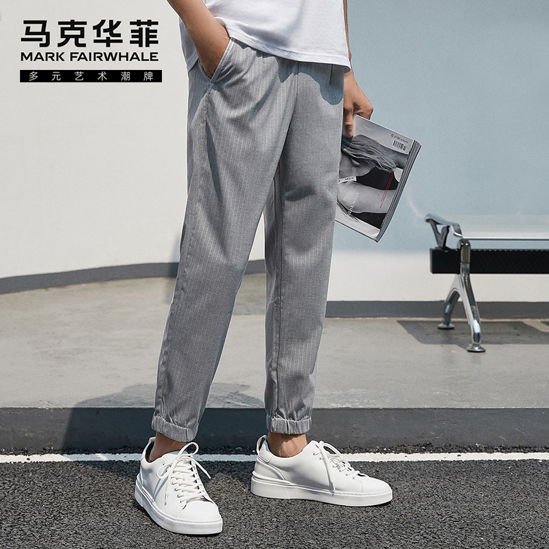 Mark Huafei men's casual pants spring new fashion Korean striped drawstring toe binding and pants trend brand
