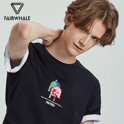 IP合作猪系列马克华菲短袖T恤男士19夏季新款韩版潮流撞色猪刺绣