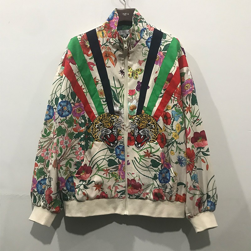Chaopai retro heavy industries wear Embroidered Baseball Jacket on both sides womens thin long sleeve jacket loose floral Satin jacket