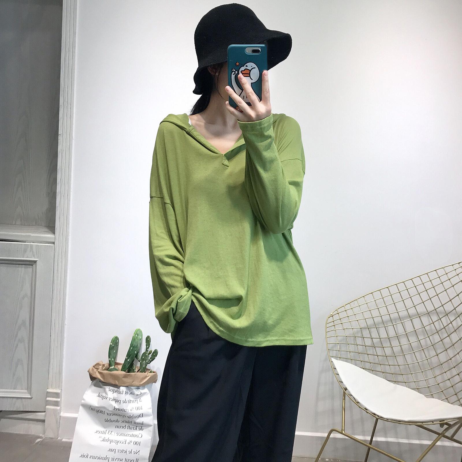 11-09新券牛油果绿连帽防晒衣纯色慵懒风t恤