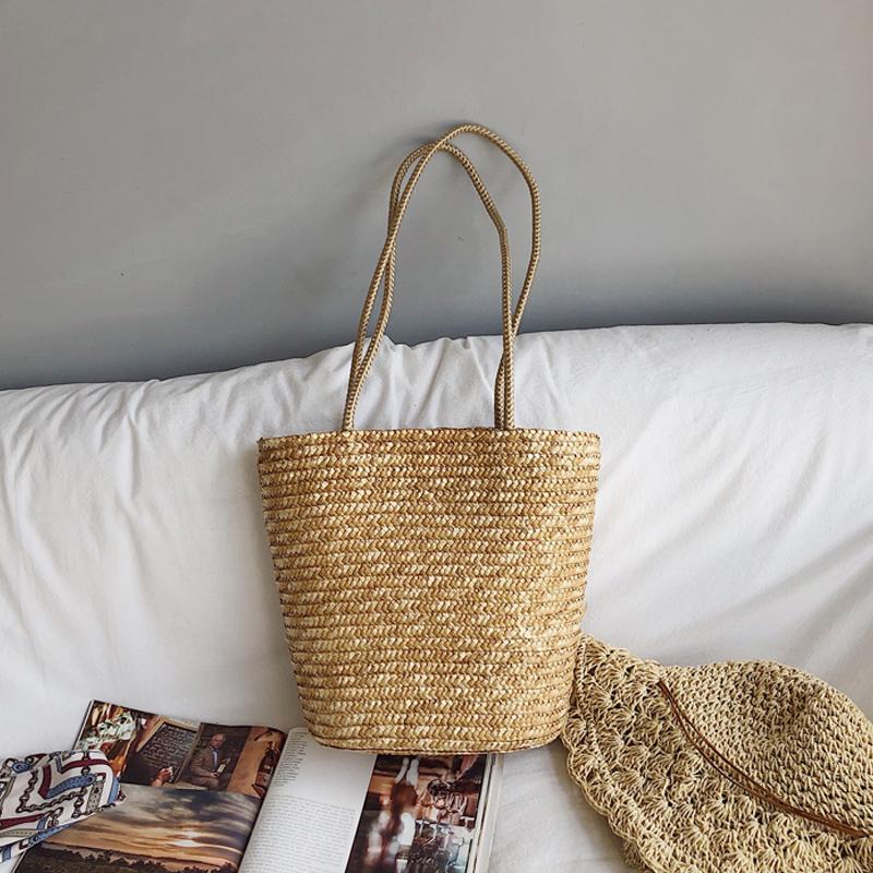 夏季新款手工草编包单肩手提包编织包女海边休闲度假沙滩包麦草包(非品牌)