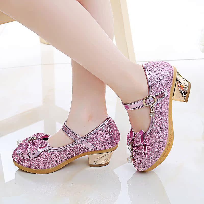 [天天特价]女童公主鞋2018新款春秋韩版儿童皮鞋高跟水晶鞋女孩单