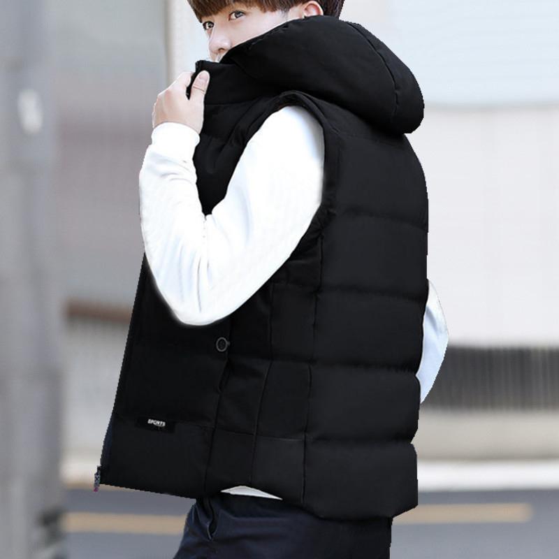 Down cotton vest mens autumn and winter coat Korean fashion down vest with thick down jacket and warm vest
