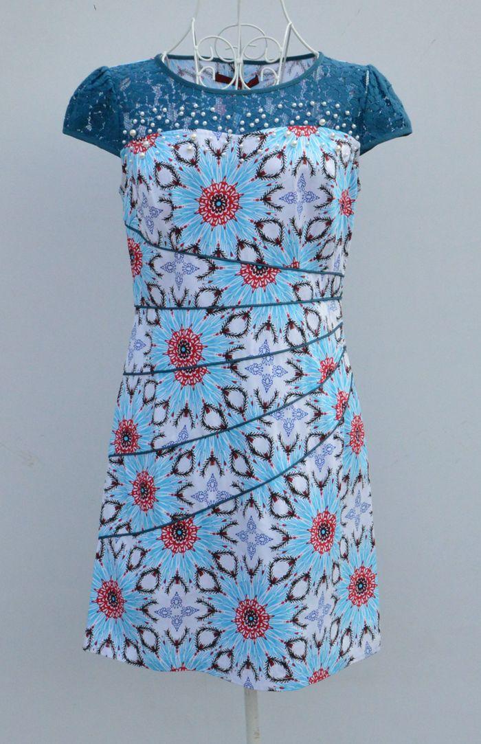 新款日月坊夏新款复古民族风印花圆领网纱钉珠修身短旗袍连衣裙