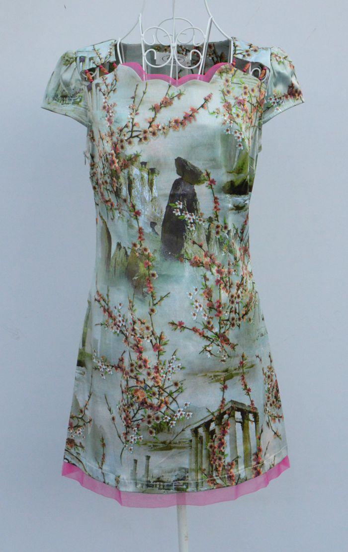 新款日月坊换标夏装女装短袖复古清新花修身显瘦改良旗袍裙连衣裙