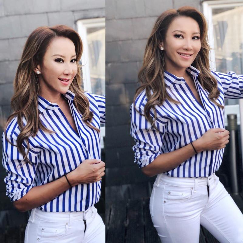 王妃梅根李玟kaia同款蓝白条纹长袖印花衬衫小清风海军风宽松衬衣
