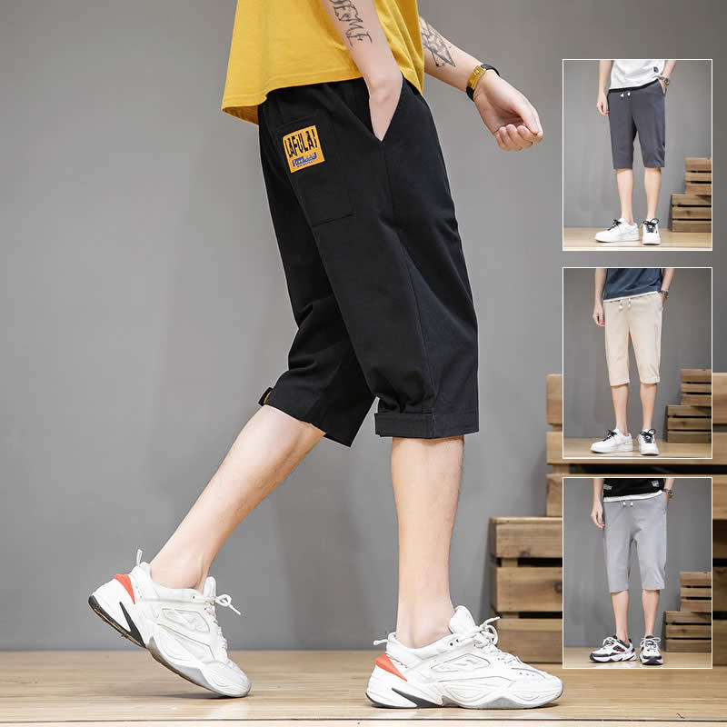 Mens fashion brand tooling shorts 2020 summer new trend thin loose mens sports leisure 7-point middle pants
