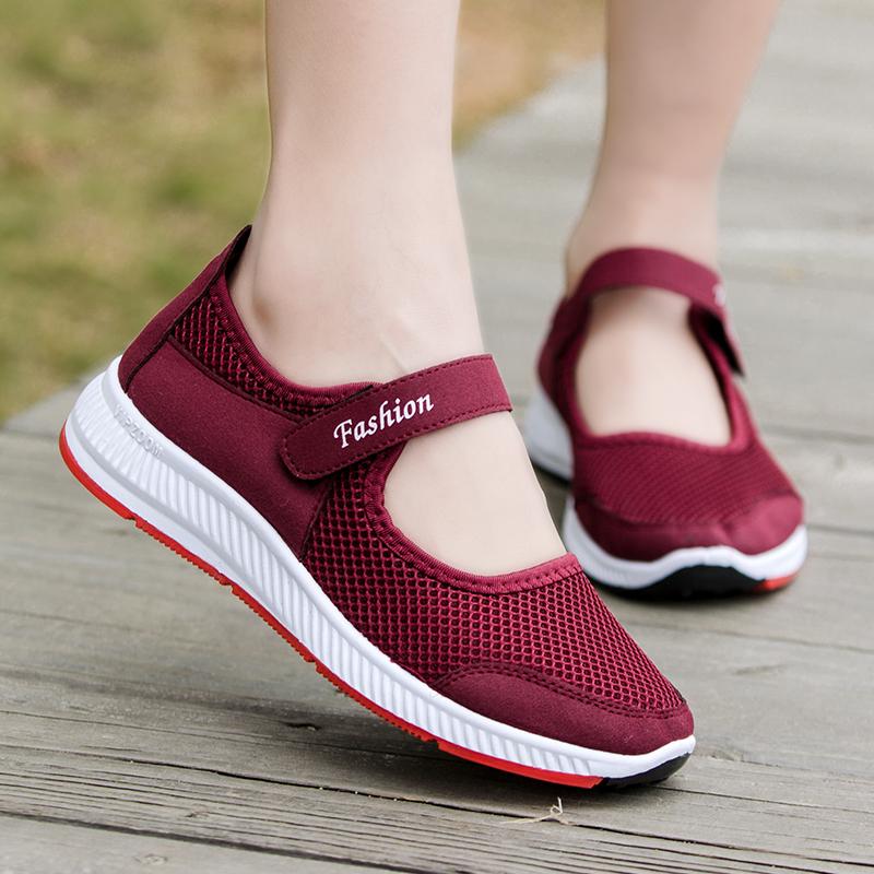 春夏新款中老年健步鞋女网鞋老北京布鞋妈妈鞋老人运动鞋子女凉鞋图片