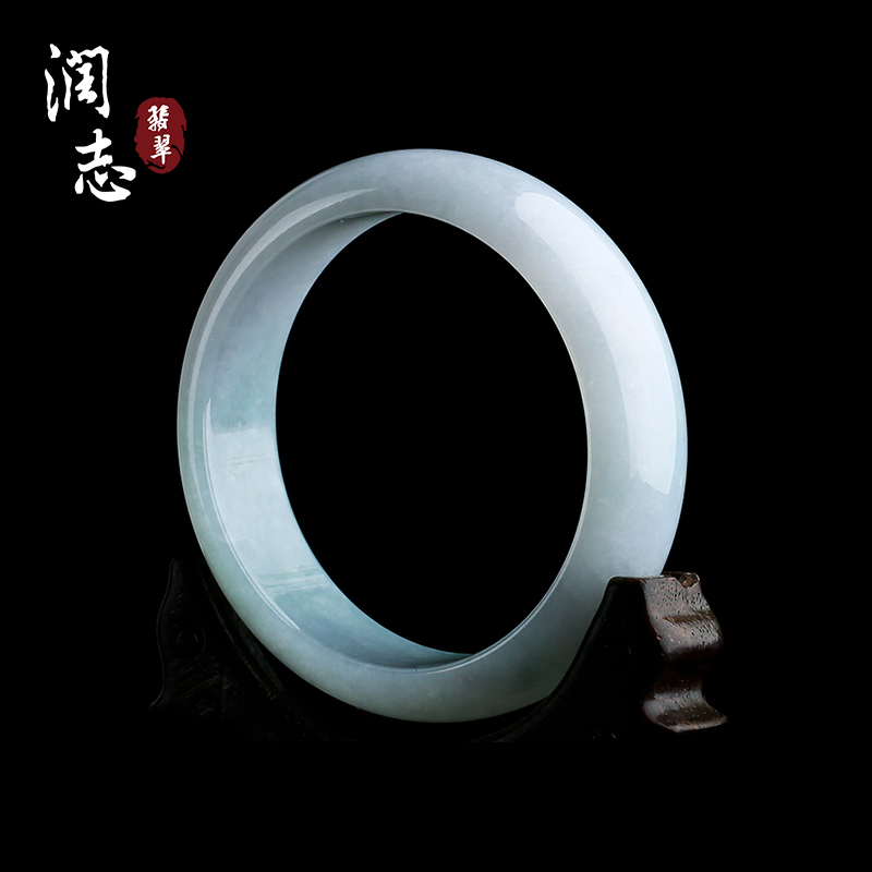 Runzhi jade bracelet Laokeng natural ice waxy light green jade bracelet childrens b2733 genuine 58 laps