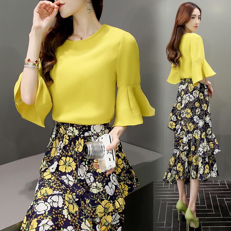 2016 летний костюм новая девушка установленная наборы корейский темперамент платье длина печать юбка тонкий установите юбка