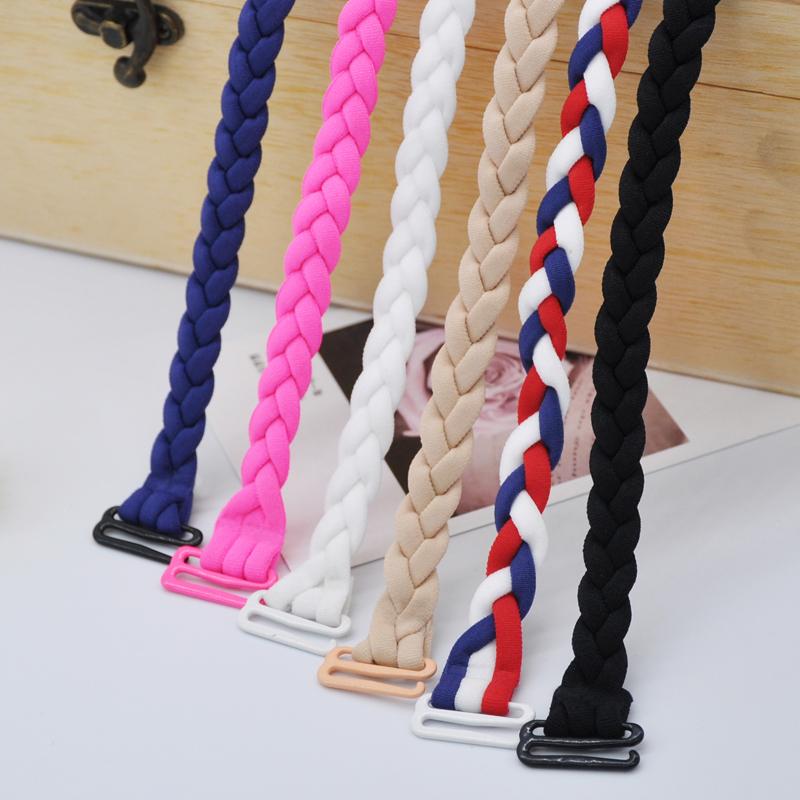韩国手工麻花辫编织双肩带弹力松紧带糖果色内衣带宽钩2.0文胸带