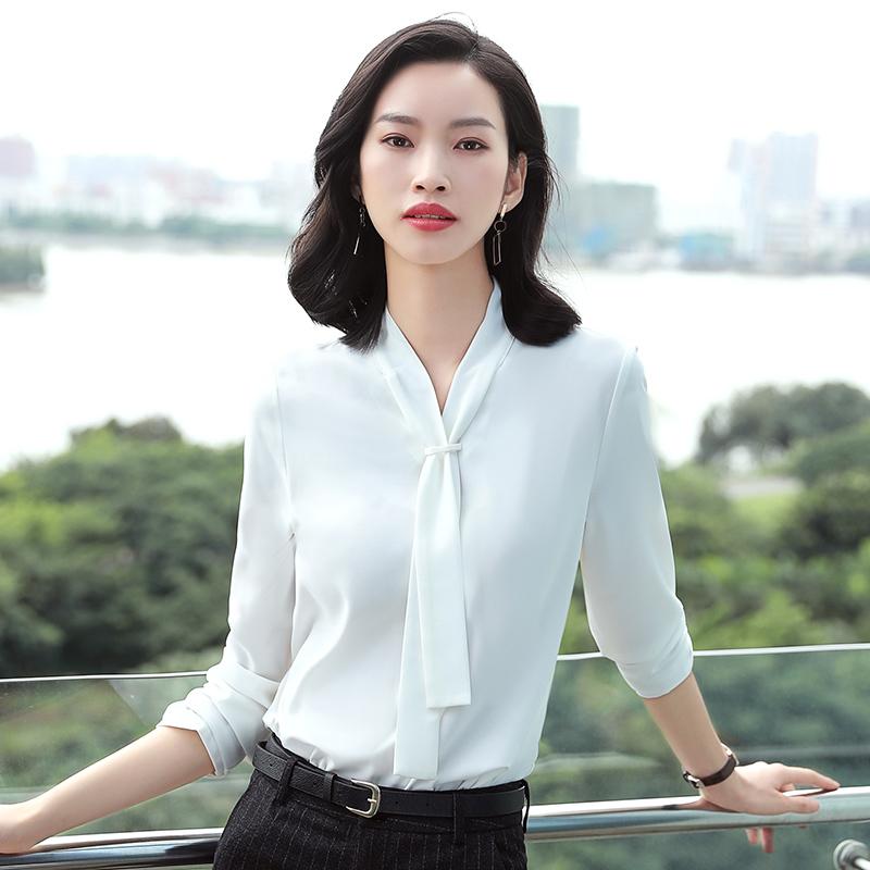 Chiffon white shirt womens long sleeve loose business dress Scarf Collar Shirt casual coat teachers work suit autumn