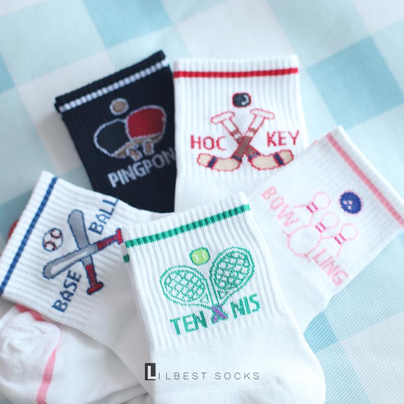 袜子女秋纯棉中筒袜韩国清新学院风个性球类图案短筒运动袜透气潮