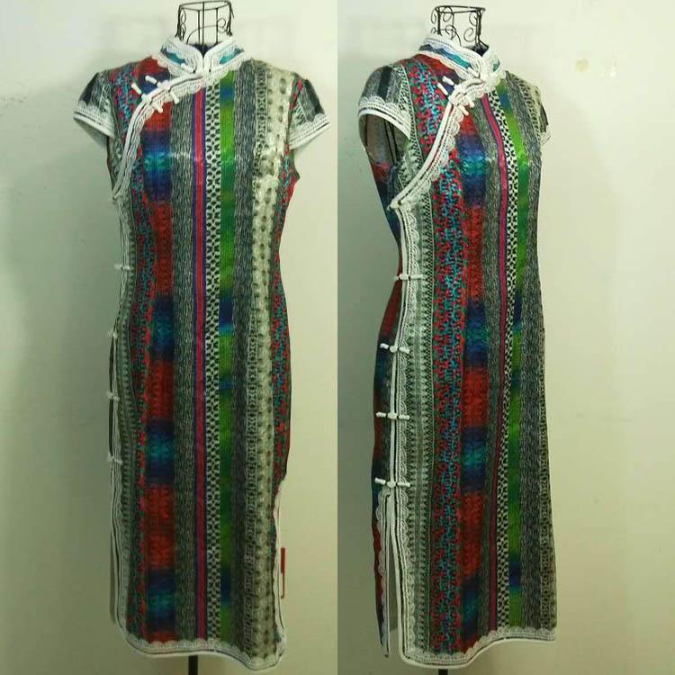 2018夏季新款日月坊女专柜正品立领竖条纹显瘦日常旗袍R18X403-50