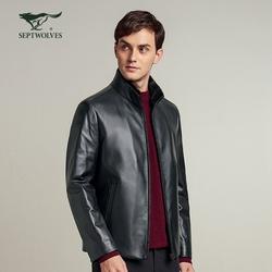 【商场同款】七匹狼男装皮衣2021秋季新款男士商务休闲夹克外套